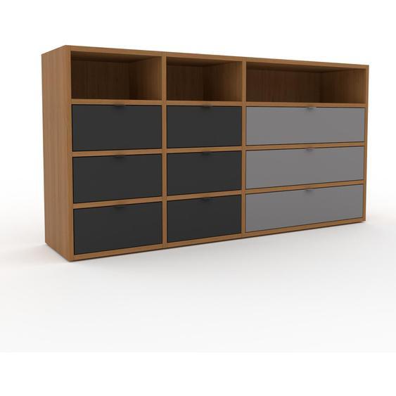 Commode - Chêne, pièce de caractère, sophistiquée, avec tiroir Graphite - 154 x 80 x 35 cm, personnalisable