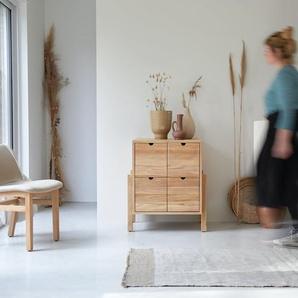 Commode de rangement en bois de teck 4 tiroirs Lubin