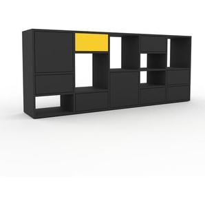 Commode - anthracite, moderne, raffinée, avec porte anthracite et tiroir anthracite - 195 x 80 x 35 cm