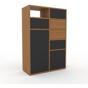 Commode - chêne, moderne, raffinée, avec porte anthracite et tiroir anthracite - 79 x 118 x 35 cm
