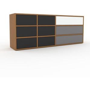 Commode - Chêne, pièce de caractère, sophistiquée, avec tiroir Anthracite - 154 x 61 x 35 cm, personnalisable