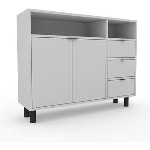 Commode - Gris clair, moderne, raffinée, avec porte Gris clair et tiroir Gris clair - 116 x 91 x 35 cm