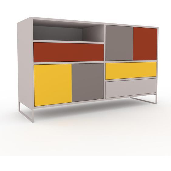 Commode - Gris clair, moderne, raffinée, avec porte Gris et tiroir Terra cotta - 152 x 91 x 47 cm