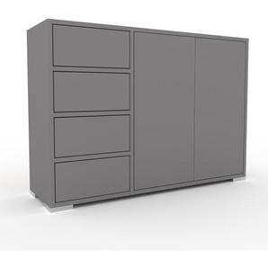 Commode - Gris, moderne, raffinée, avec porte Gris et tiroir Gris - 116 x 81 x 35 cm