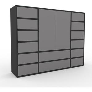 Commode - anthracite, moderne, raffinée, avec porte gris et tiroir gris - 154 x 118 x 35 cm