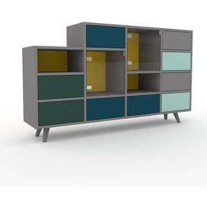 Commode - Gris, moderne, raffinée, avec porte Verre clair transparent et tiroir Bleu marine - 156 x 91 x 35 cm