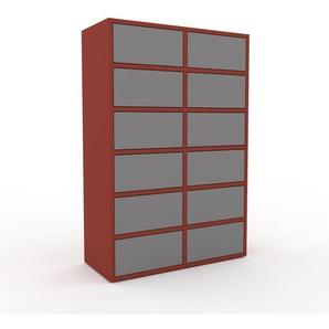 Commode - rouge, pièce de caractère, sophistiquée, avec tiroir gris - 79 x 118 x 35 cm, personnalisable