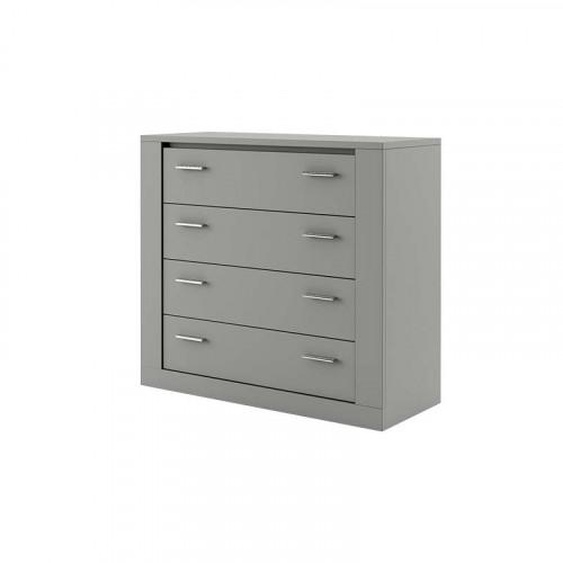 Commode grise 4 tiroirs IDEA largeur 100cm - .fr