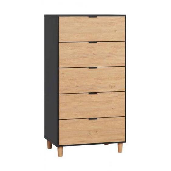 Commode haute 5 tiroirs largeur 62 cm SIMPLE - couleur noir - .fr