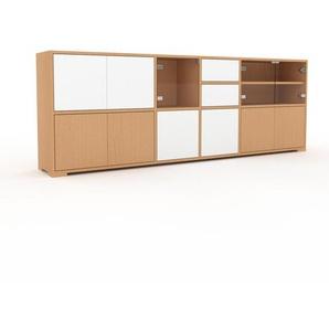 Commode - Hêtre, moderne, raffinée, avec porte Hêtre et tiroir Blanc - 229 x 81 x 35 cm