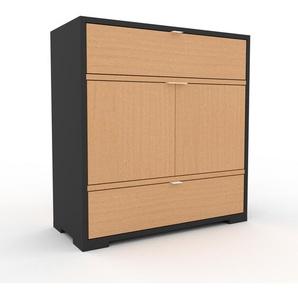 Commode - anthracite, moderne, raffinée, avec porte hêtre et tiroir hêtre - 77 x 81 x 35 cm