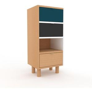 Commode en hêtre, bois massif, aspect naturel, pour chambre de qualité - 41 x 91 x 35 cm