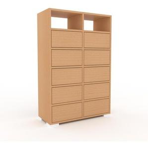 Commode en hêtre, bois massif, aspect naturel, pour chambre de qualité - 79 x 120 x 35 cm