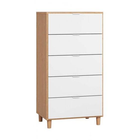 Commode largeur 63 cm SIMPLE avec 5 tiroirs - couleur chêne - .fr