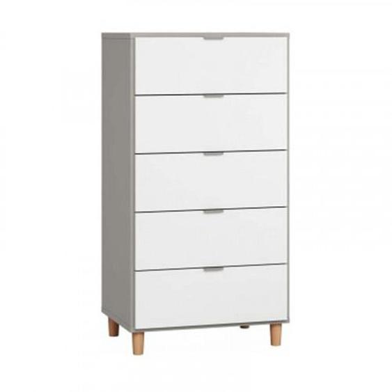 Commode largeur 63 cm SIMPLE avec 5 tiroirs - couleur gris - .fr