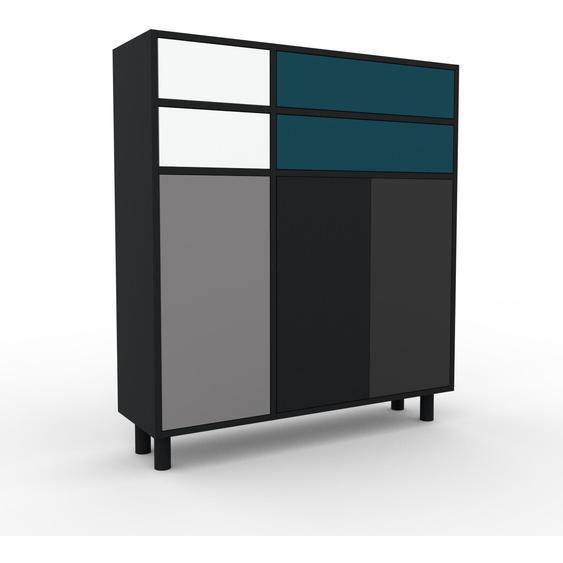 Commode - Noir, moderne, raffinée, avec porte Gris et tiroir Blanc - 116 x 130 x 35 cm