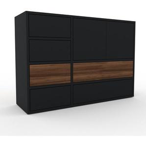 Commode - Noir, moderne, raffinée, avec porte Noir et tiroir Noir - 116 x 80 x 35 cm