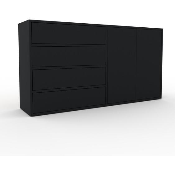 Commode - Noir, moderne, raffinée, avec porte Noir et tiroir Noir - 152 x 80 x 35 cm