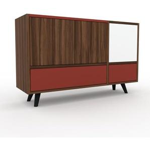 Commode - noyer, moderne, raffinée, avec porte noyer et tiroir rouge - 116 x 72 x 35 cm