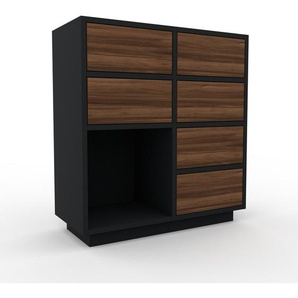 Commode - Noir, pièce de caractère, sophistiquée, avec tiroir Noyer - 79 x 85 x 35 cm, personnalisable