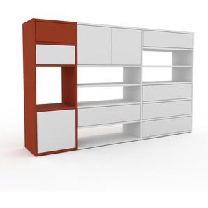 Commode - Rouge, moderne, raffinée, avec porte Blanc et tiroir Blanc - 190 x 118 x 35 cm