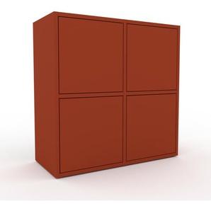 Commode - rouge, contemporaine, élégantes, avec porte rouge - 79 x 80 x 35 cm, personnalisable