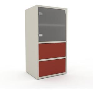 Commode - Verre clair dépoli, moderne, raffinée, avec porte Verre clair dépoli et tiroir Rouge bordeaux - 41 x 80 x 35 cm