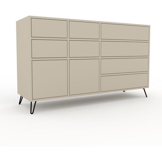 Commode - Taupe, pièce de caractère, sophistiquée, avec tiroir Taupe - 154 x 91 x 47 cm, personnalisable