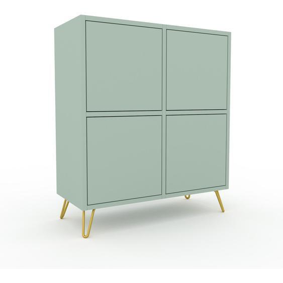 Commode - Vert céladon avec des pieds dorés, moderne, raffinée, avec porte Vert céladon et tiroir Vert céladon - 79 x 91 x 35 cm
