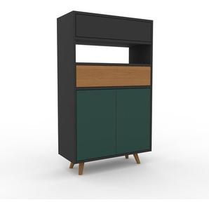 Commode - Vert sapin, moderne, raffinée, avec porte Vert sapin et tiroir Anthracite - 77 x 130 x 35 cm