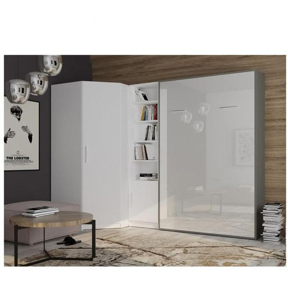 Composition armoire lit angle SMART-V2 160*200 cm, gris graphite mat / façade gloss blanc brillant - blanc - INSIDE75