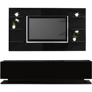 Composition design meuble laqué noir 2 portes