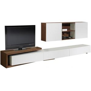 Composition design meuble TV laque et noyer 3 tiroirs