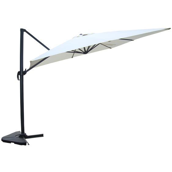 Concept-usine - Cesare écru : Parasol déporté, rectangulaire de 3x4m, rotatif à 360°