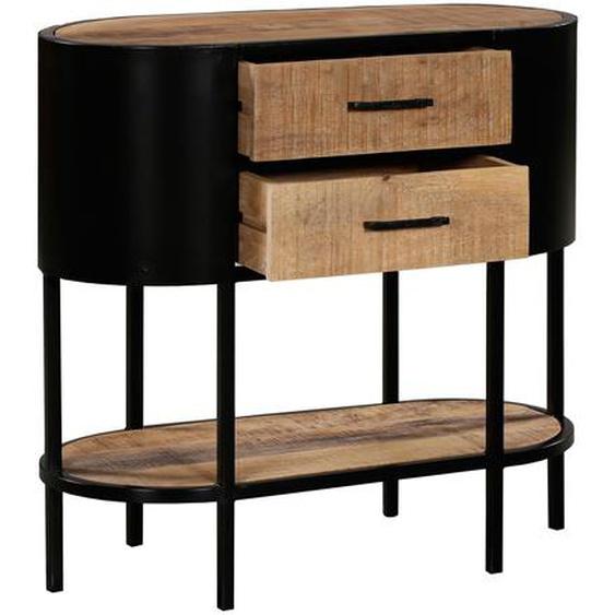 Console arrondie industrielle en bois et métal – 2 tiroirs, 1 étagère