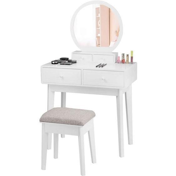 Armoire de Toilette avec Miroir en Bois MDF Armoire de Salle de Bain avec 3 Etagères 60 x 22 x 64 cm Blanche - Costway