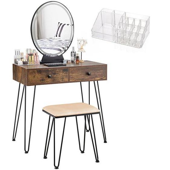 COSTWAY Coiffeuse, Table de Maquillage avec 1 Miroir Tactile à LED Choix dEclairage 3 Couleurs, 2 Tiroirs, 1 Boîte de Rangement et 1 Tabouret