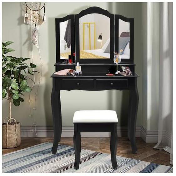 COSTWAY Coiffeuse, Table de Maquillage avec 3 Miroirs Tournable, Tabouret et 4 Tiroirs, Moderne, 80 x 40,5 x 137cm