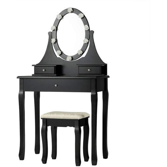 Coiffeuse Table de Maquillage avec Miroir Ovale Tabouret et Lumière LED Noir - Costway