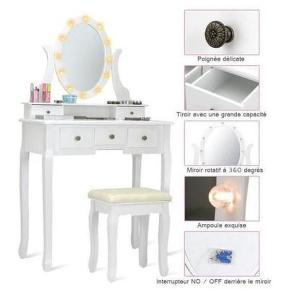 COSTWAY Coiffeuse Table de Maquillage avec MiroirOvale LED Rotative en Bois avec 5 Tiroirs avec Tabouret 80 x 40 x 142CM Blanc