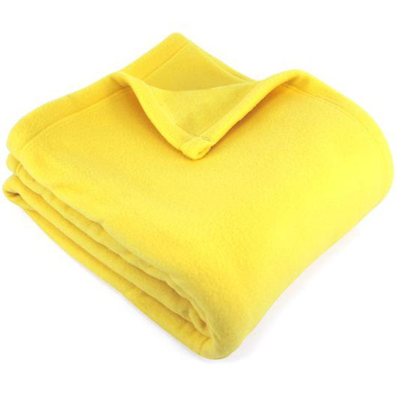 Couverture polaire 180x220 cm 100% Polyester 350 g/m2 TEDDY Jaune Pollen