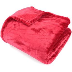 Couverture polaire 180x240 cm Microfibre 100% Polyester 320 g/m2 VELVET Rouge