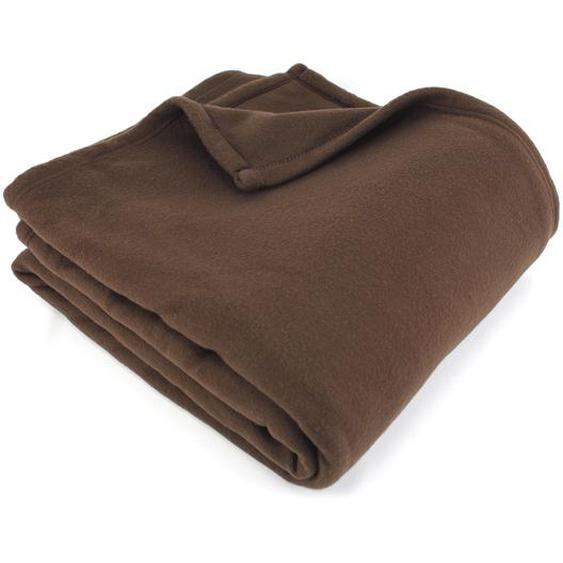 Couverture polaire 220x240 cm 100% Polyester 350 g/m2 TEDDY Marron Chocolat