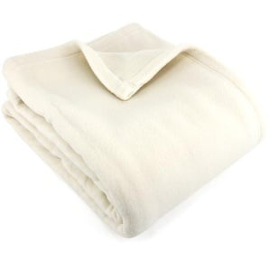 Couverture polaire 240x260 cm 100% Polyester 350 g/m2 TEDDY Blanc Naturel