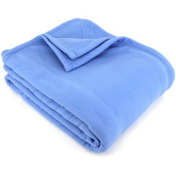 Couverture polaire 240x260 cm 100% Polyester 350 g/m2 TEDDY Bleu Azur