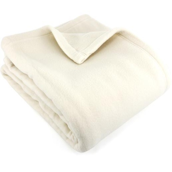 Couverture polaire 240x300 cm 100% Polyester 350 g/m2 TEDDY Blanc Naturel