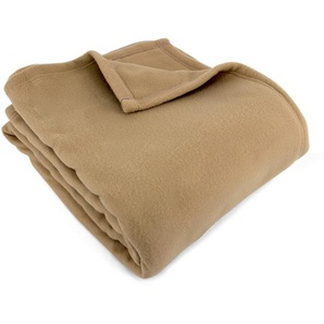 Couverture polaire 240x300 cm 100% Polyester 350 g/m2 TEDDY Marron Sable