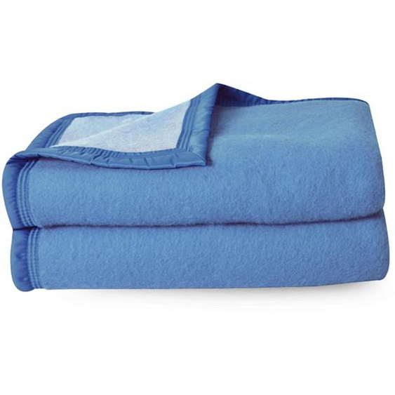 Couverture pure laine vierge Woolmark 500g/m² VOLTA 220x240 cm Bleu Azur