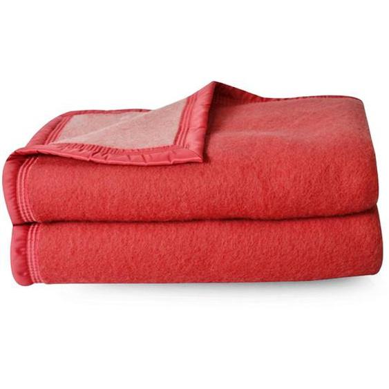 Couverture pure laine vierge Woolmark 500g/m² VOLTA 240x260 cm Rouge Bois de rose