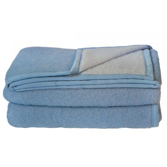 Couverture pure laine vierge Woolmark 600g/m² CYBELE 220x240cm bleu Azur